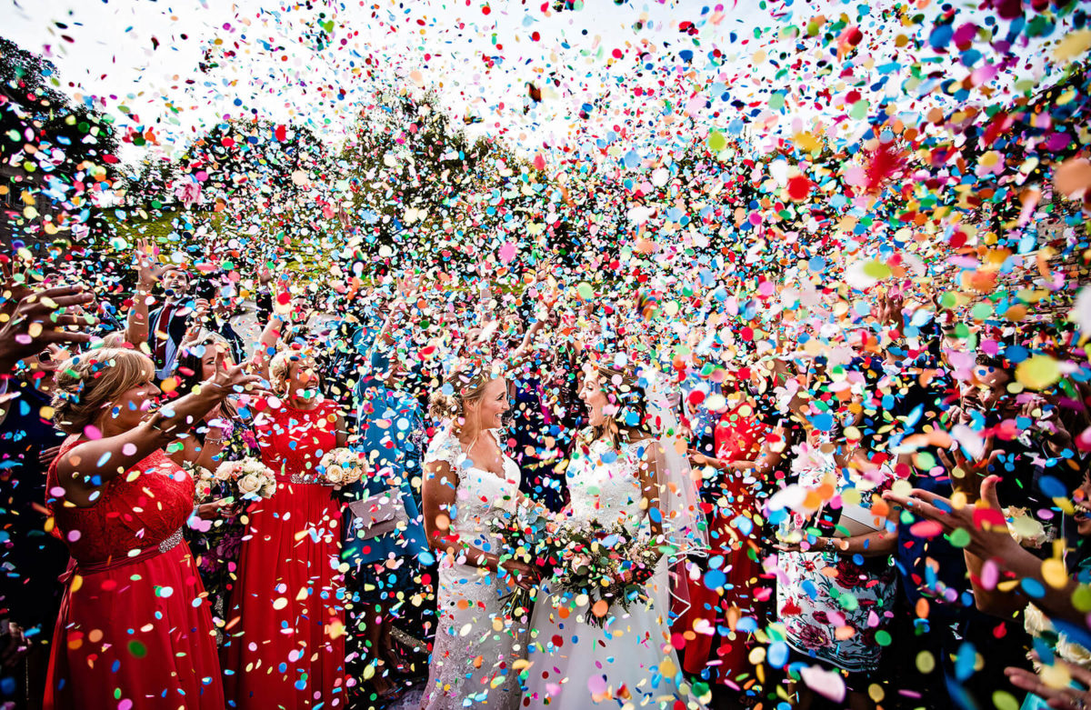 Bright Wedding Confetti at The Ashes Barns